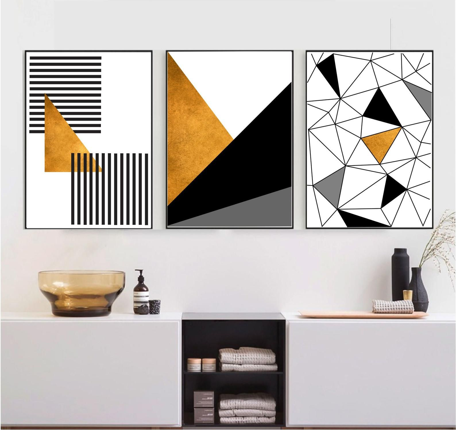 Set Of 3 Gold Black And White Printable Wall Art Set Geometric Etsy Geometric Wall Art Wall Printables Wall Art Sets