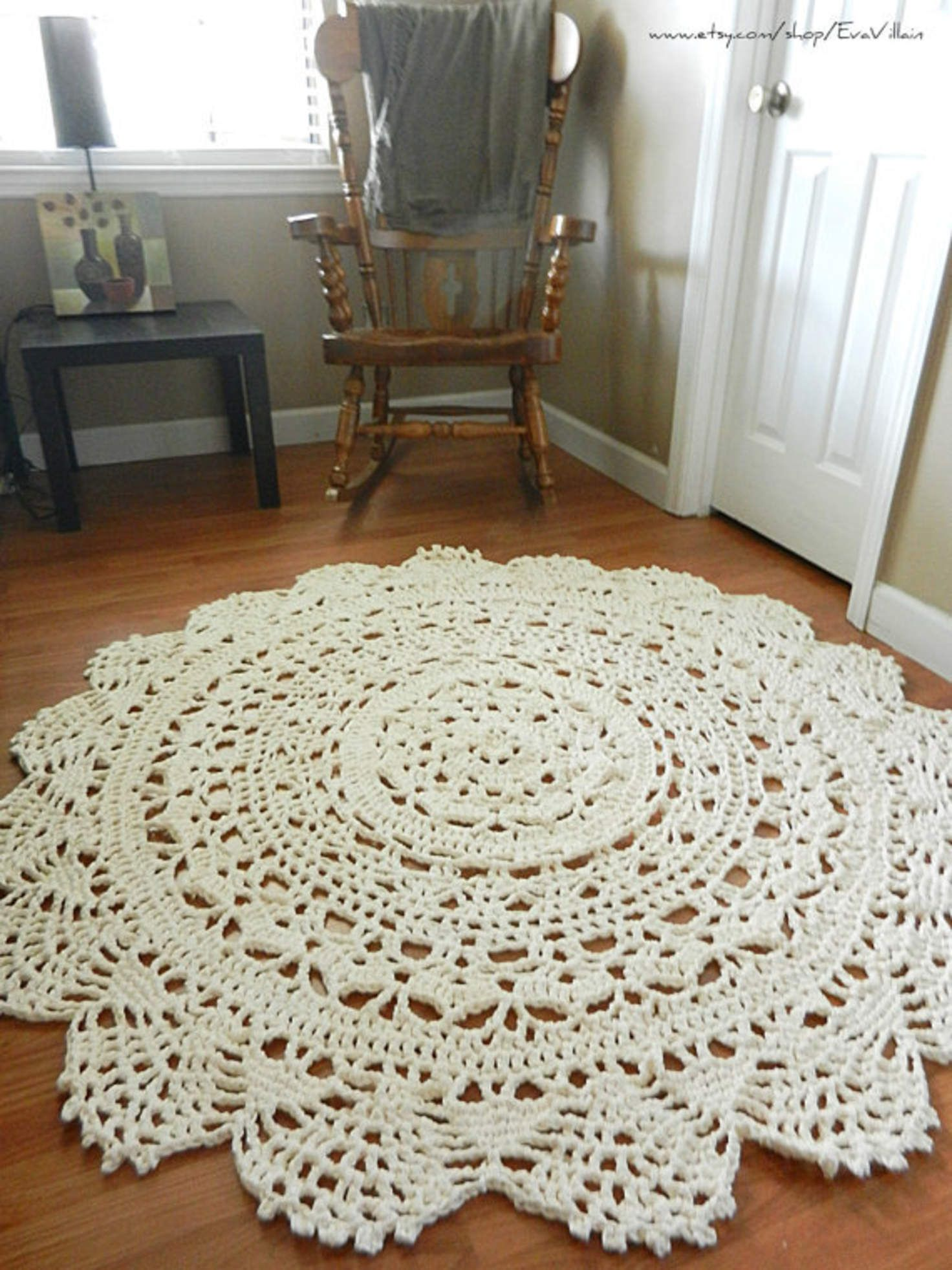 Giant Crochet Doily Rug Floor Off White Ecru Lace Large Area Cottage Chic Oversized Shabby Home