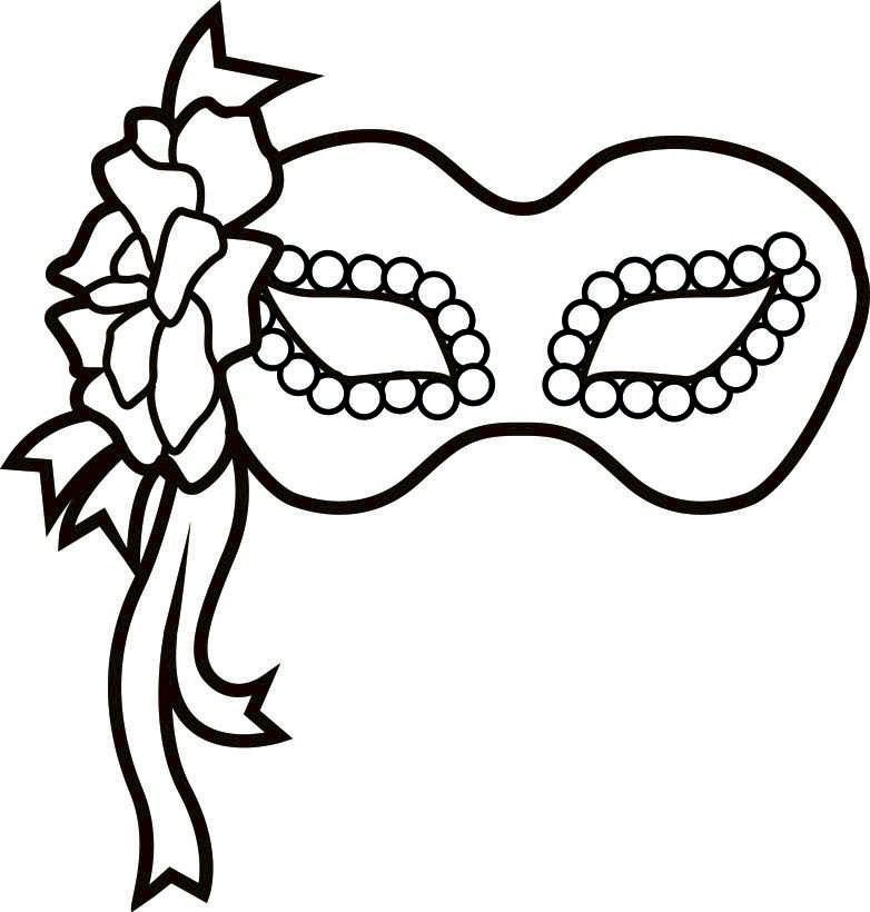 Black And White Elegant Masquerade Mask Clip Printable Mardi