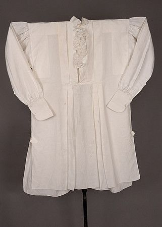 Gent's White Linen Shirt, Not Regency, but note the front is still not  button-through even at this date.