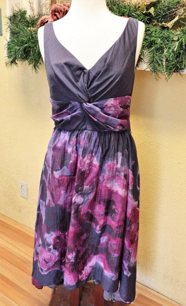 Neiman Marcus Womens 10 Lela Rose Dress Fit N Flare Cotton Blend V ...
