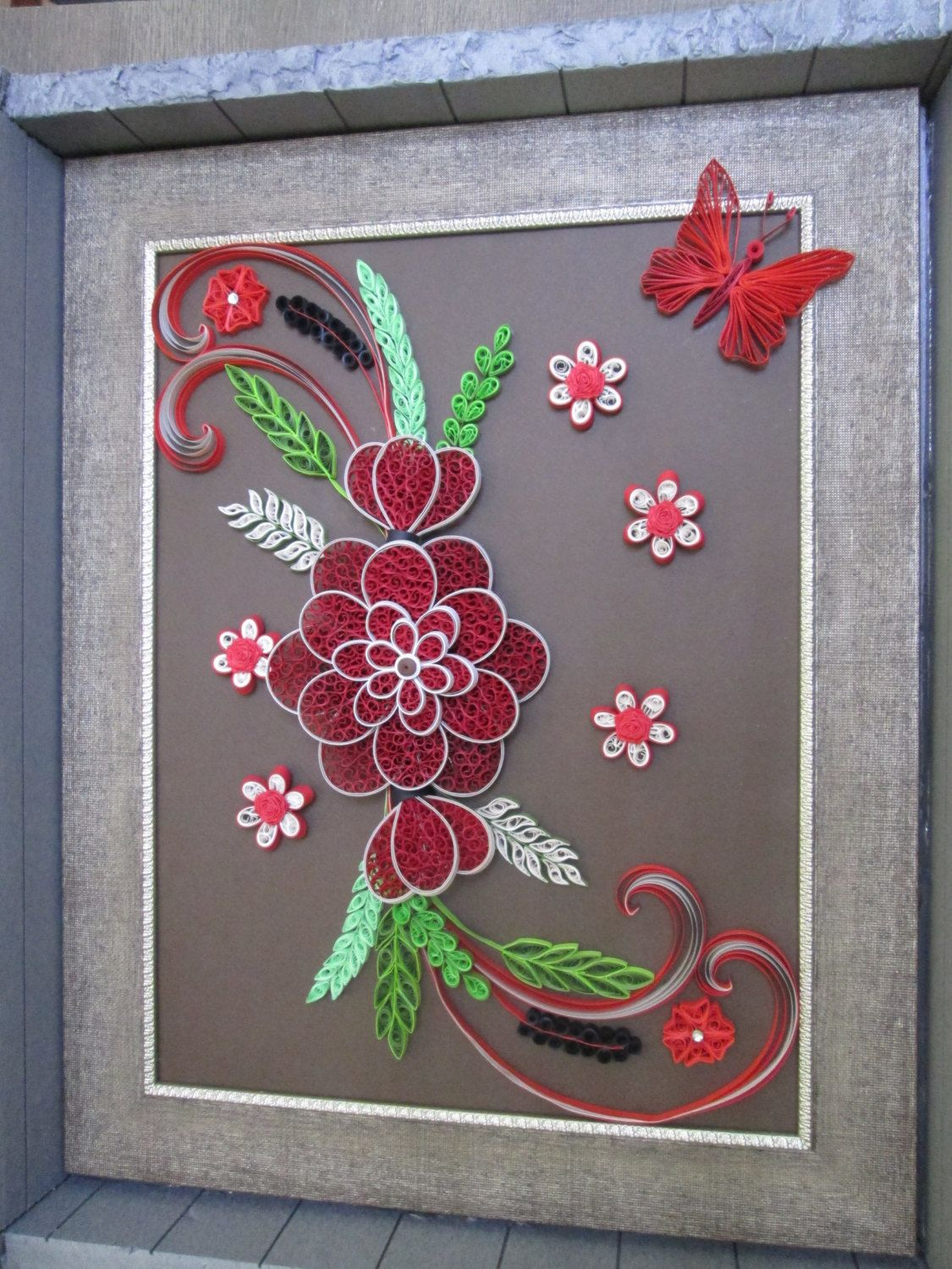 Paper Quilling Wall Art Picture Red Flower For Wall Decoration By