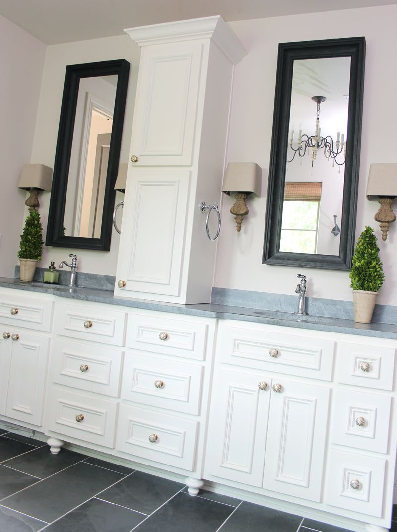 our bathroom black montauk slate tile restoration hardware rh pinterest com