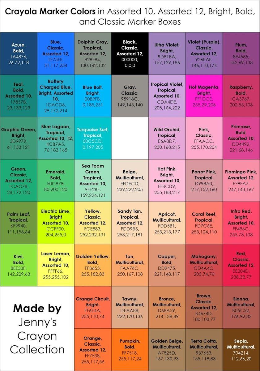 List Of Current Crayola Marker Colors Color Palette Challenge