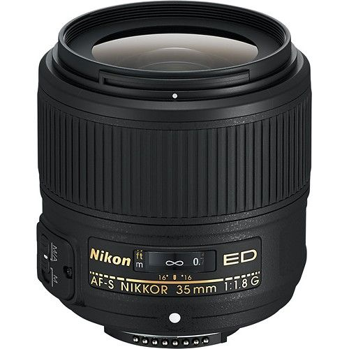 Nikon - AF-S NIKKOR 35mm f/1.8G ED Prime Lens for Select Nikon DSLR Cameras - Black - Larger Front