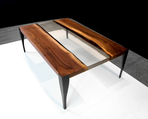 Black Walnut And Acrylic Low Table With Blackened Steel Legs John Houshmand Furniture To Live