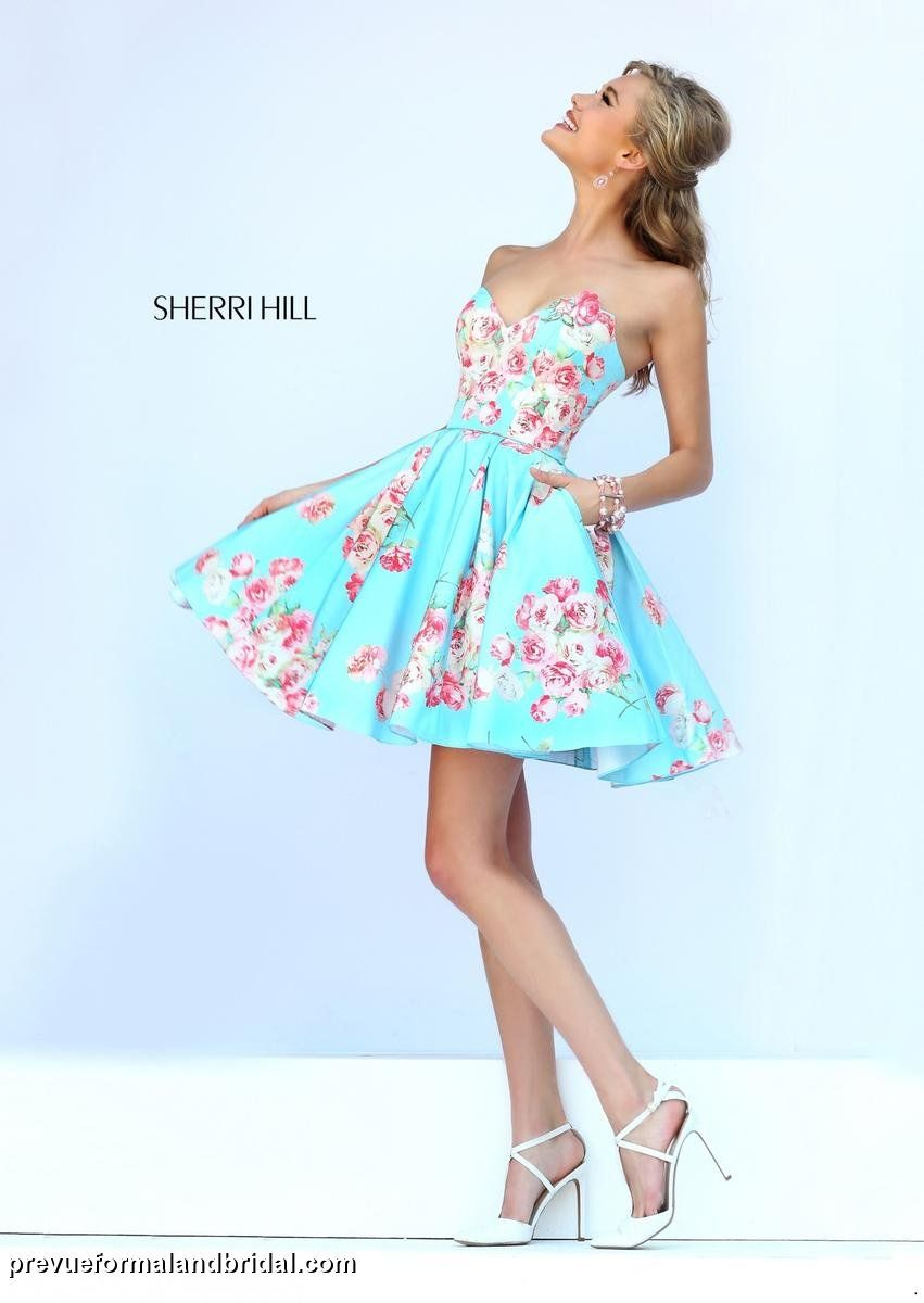 Sherri Hill, short floral gown. Homecoming dress with flowers. Short ...