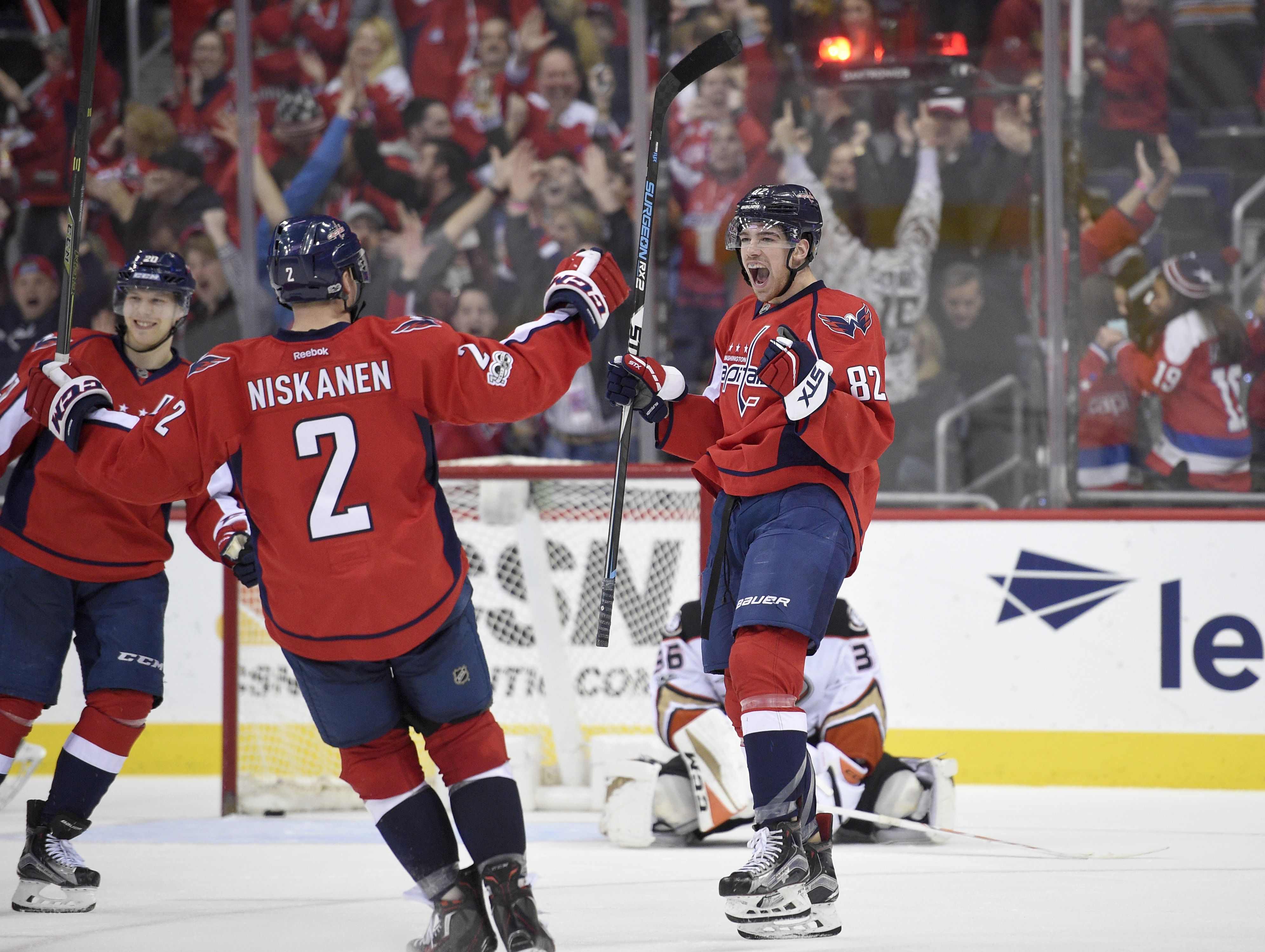 Zach Sanford's first career NHL goal lifts Capitals to a win over the Ducks