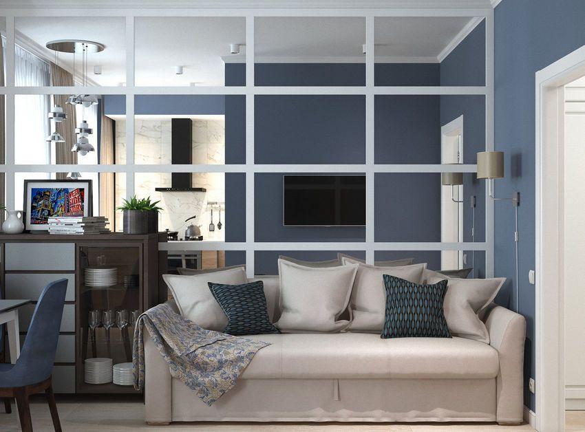 45m2 két szoba - kék árnyalatok nappali és konyha L alakú térben ...