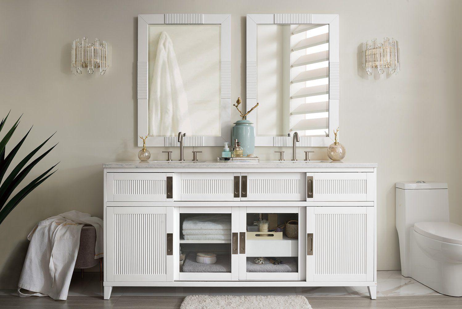 "72"" Brisbane Bright White Double Sink Bathroom Vanity ..."