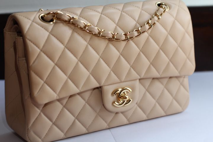 Chanel Medium Classic Flap Either Single Or Double Beige Cream In Gold Hardware Caviar Leather