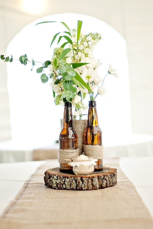 diy table decorations rustic center piece bbq event recycled beer bottles and twine - Rustic Center