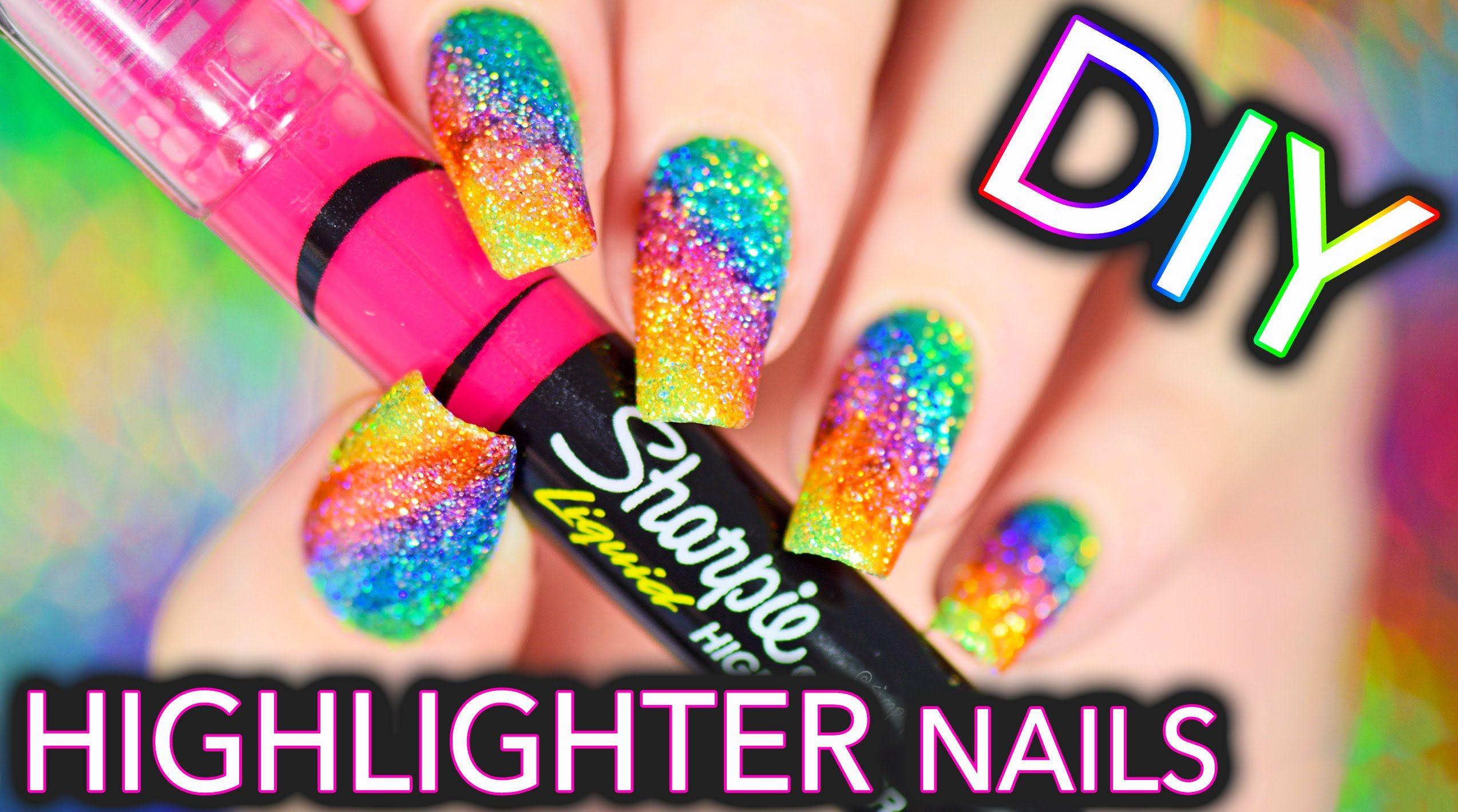 DIY Sparkly Highlighter Rainbow nails!!!