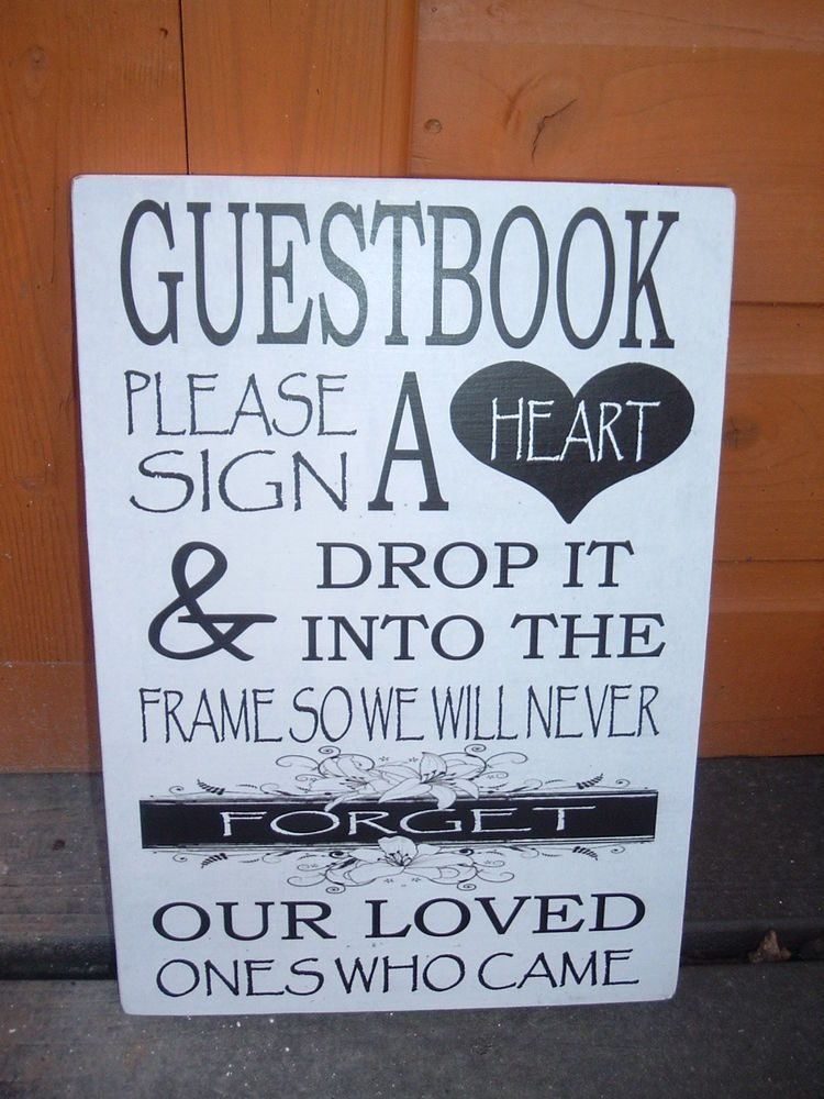 Wedding Guest Book Table Sign Sign A Heart Drop In Frame