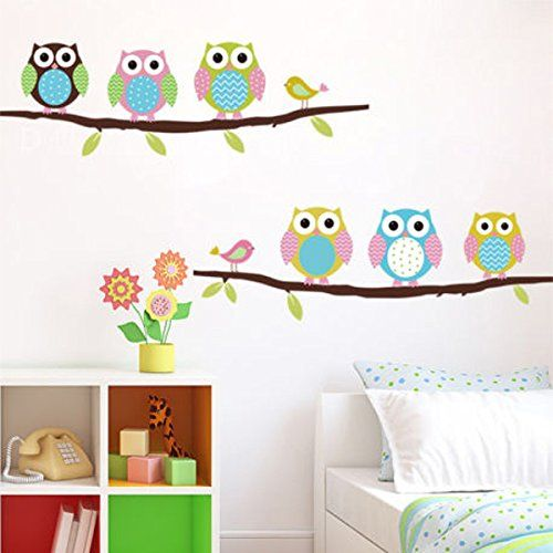 Free Shipping Removable Owl Birds Branch Vinyl Kids Room Wall Stickers  Pjaros bho extrables rama habitaciones nios vinilo pegatinas de pared -- Click image to review more details.Note:It is affiliate link to Amazon.