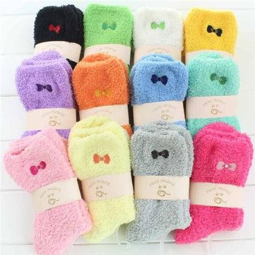 Women Fuzzy Coral Fleece Bowknot Embroidery Pattern Candy Color Socks