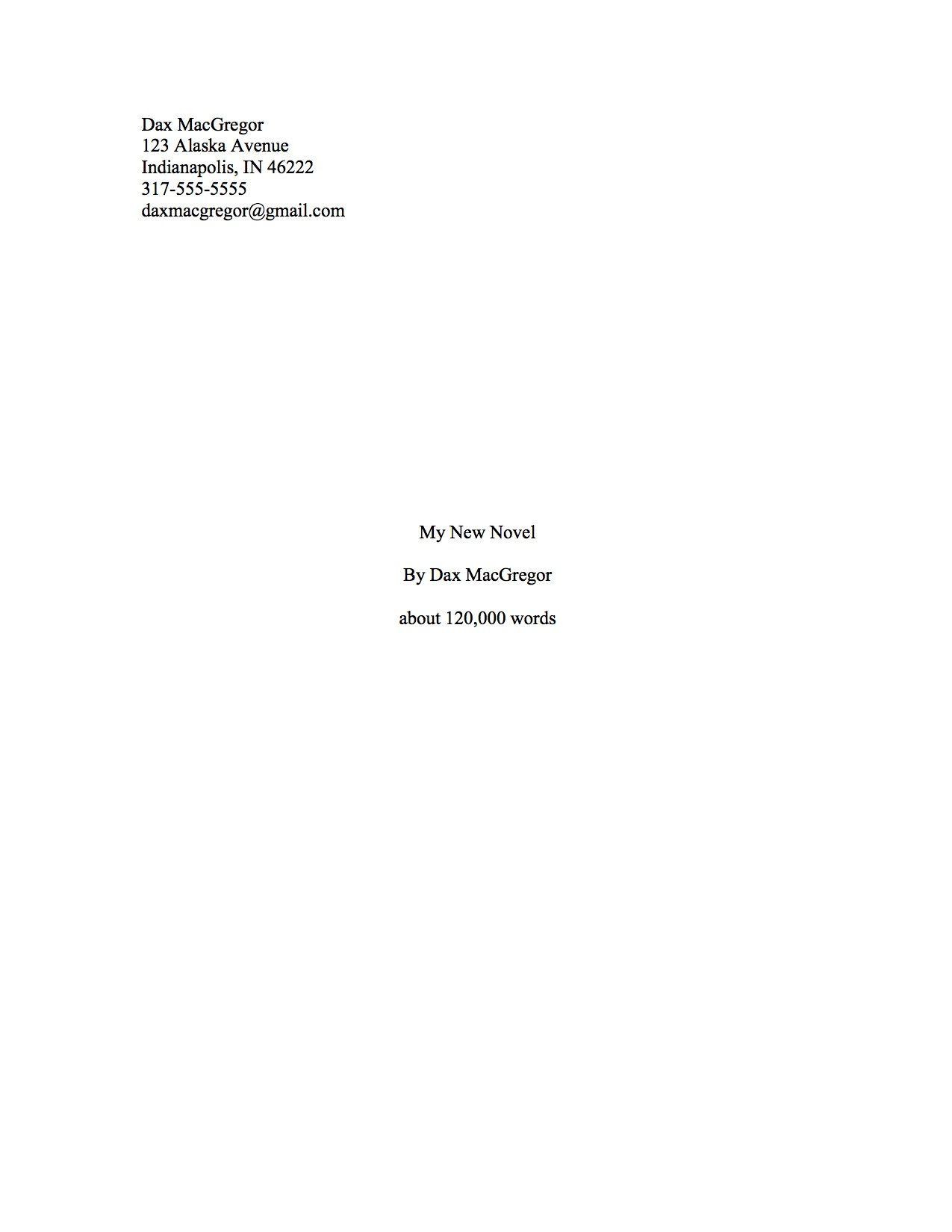 Proper Manuscript Format For A Novel Manuscript Format