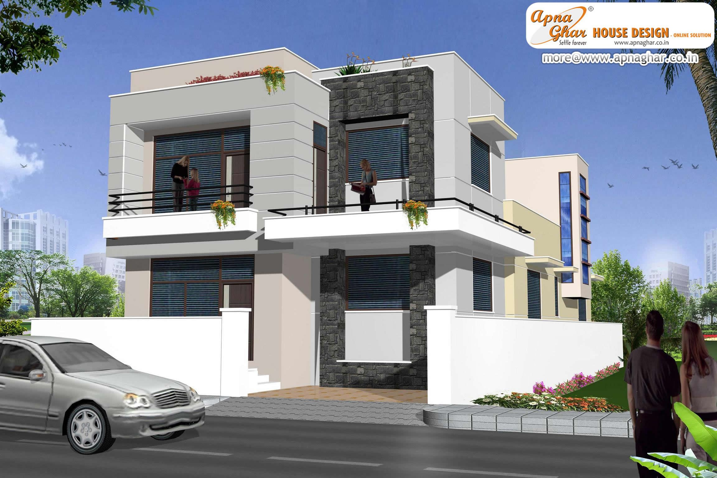 Modern duplex 2 floor house design area 198m2 9m x for Duplex designs india