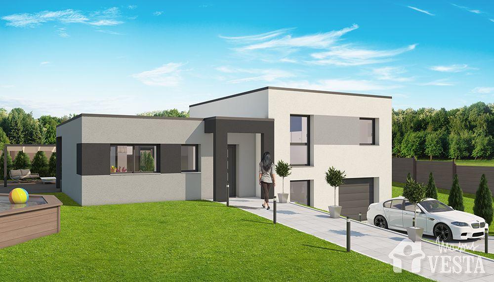 Maisons VESTA  Modèle Olympe (demi-niveau style contemporain