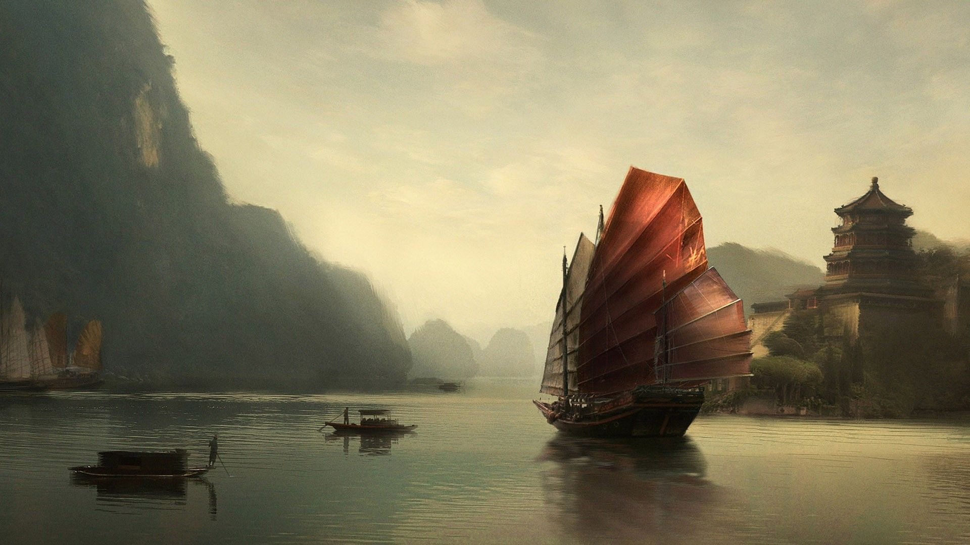 chinese boat wallpaper art pinterest chinese boat