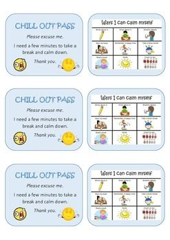 Chill Out Pass Includes Ways I Can Calm Down Calm Down Calm Pretty Teacher