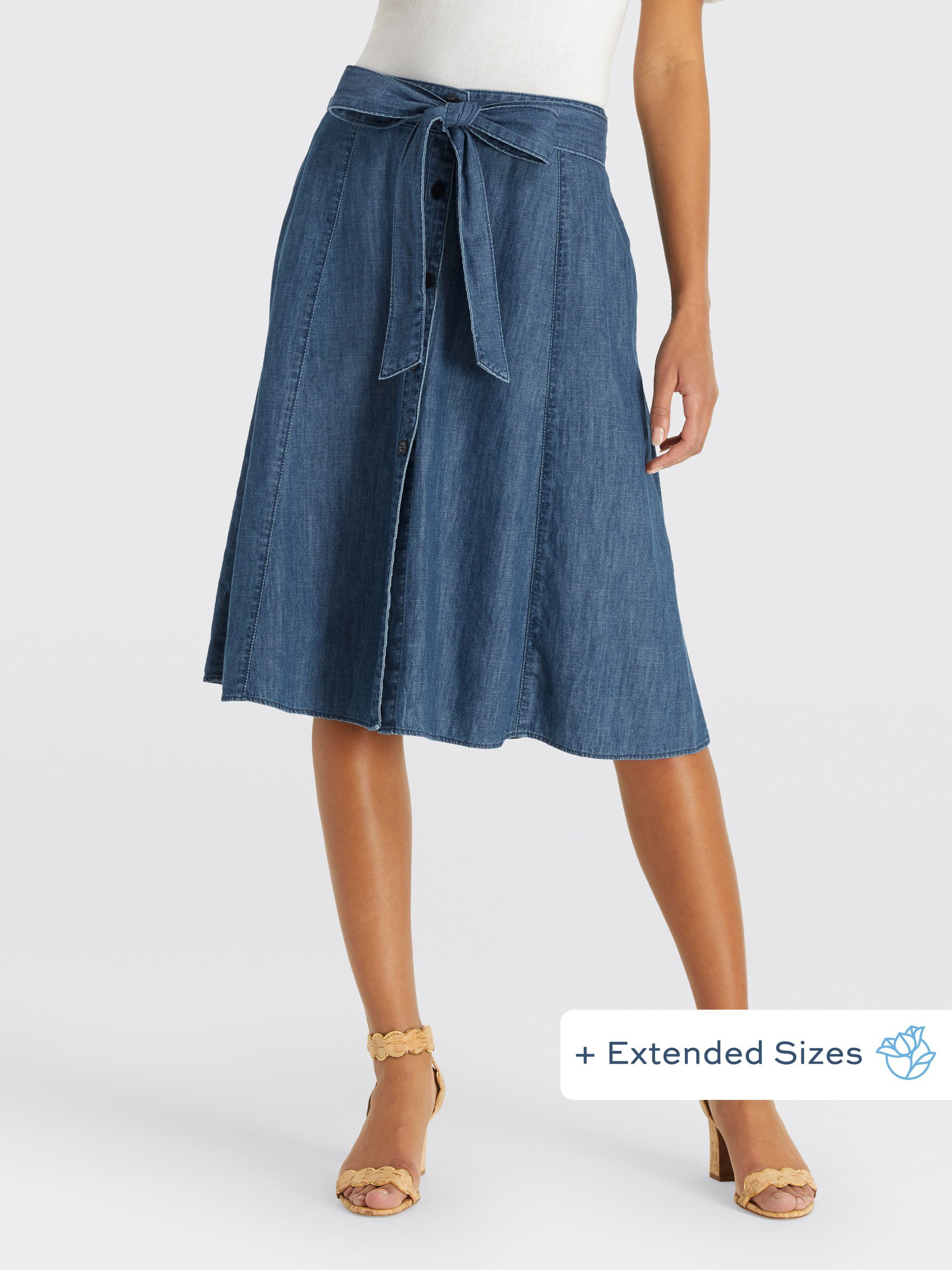 586f3c85f Chambray is one of our favorite fabrics, and it's perfect for this super  comfy and stylish midi skirt. With buttons down the front and a tie at the  waist, ...