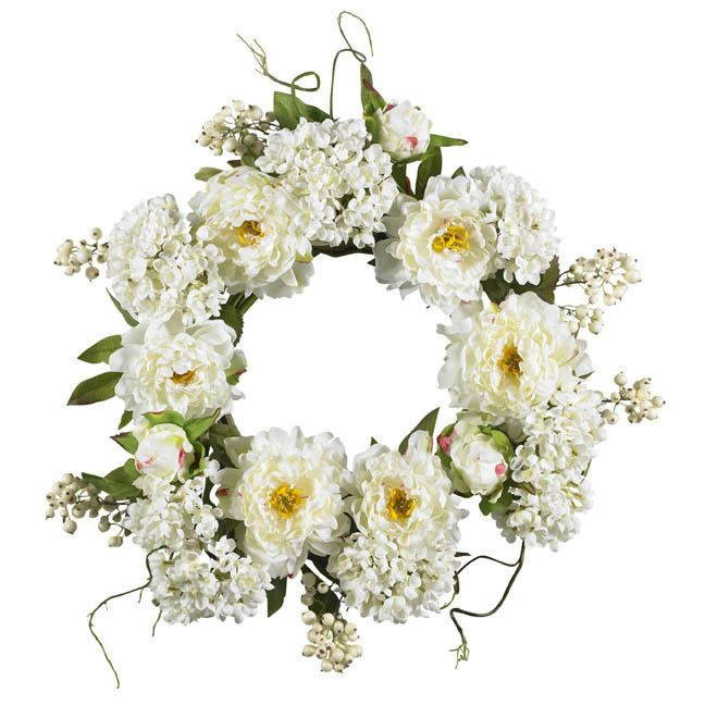 White Cloud Peony Silk Door Wreath 20 inch in 2019