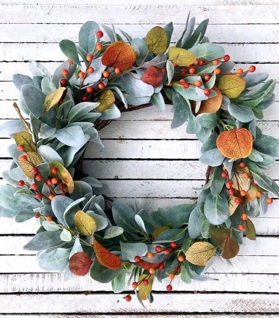 Fall Lamb's Ear Wreath, Autumn Farmhouse Wreath, Orange Berry Wreath, Eucalyptus Wreath, Fall Front Door Wreath, Thanksgiving Wreath #fallwreaths