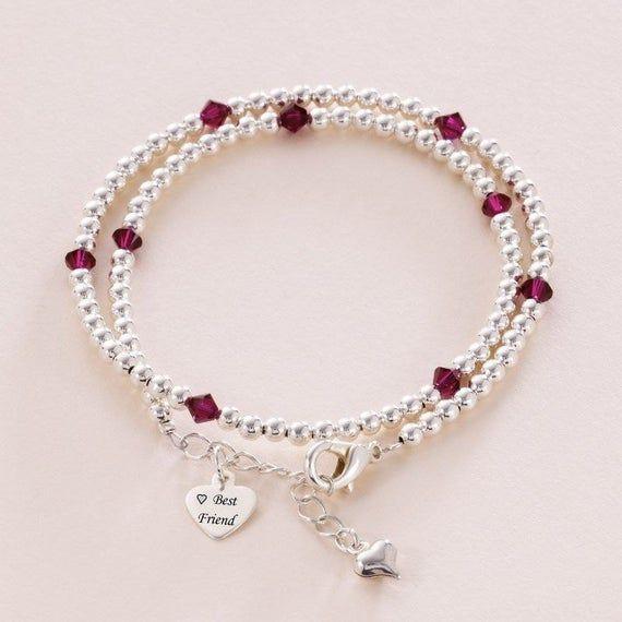 Engraved Birthstone Bracelet for Sister, Friend, Mum, Daughter etc #mumsetc
