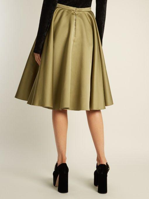 adab62188e Rochas Pleated duchess-satin midi skirt | FALDAS | Satin midi skirt ...