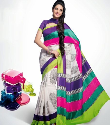 a20fd8bb8f Fancy Design Herbeceous Motif Printed White Color Bhagalpuri Silk Saree  Length: 5.50 Mtr Blouse Length -80 cm