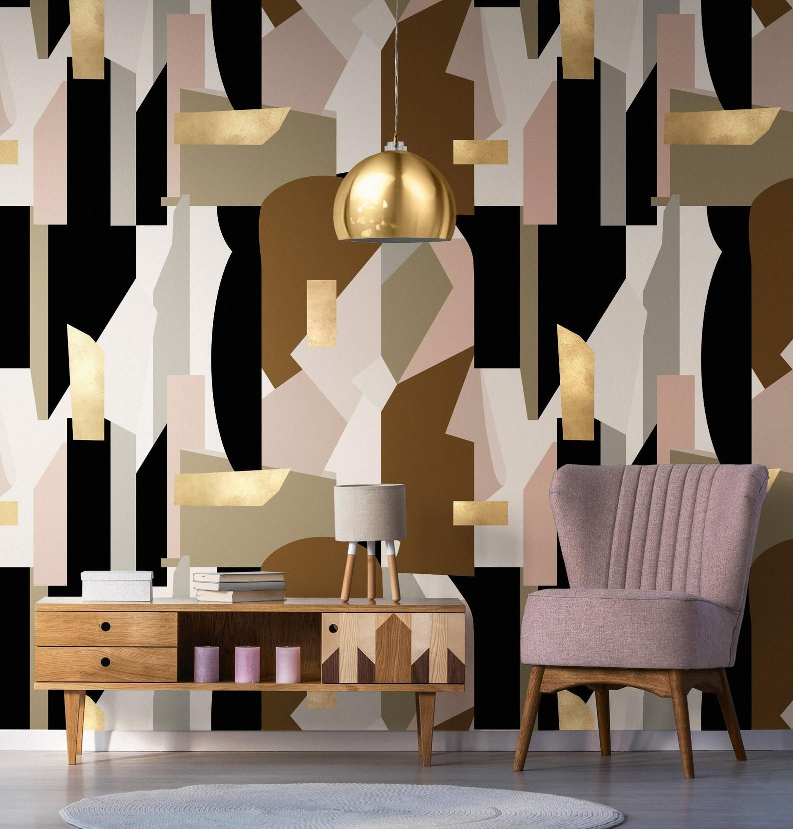 Large scale abstract geometric wallpaper – Contemporary designer wallpaper / wallcovering – feature wall – statement abstraction wallpaper