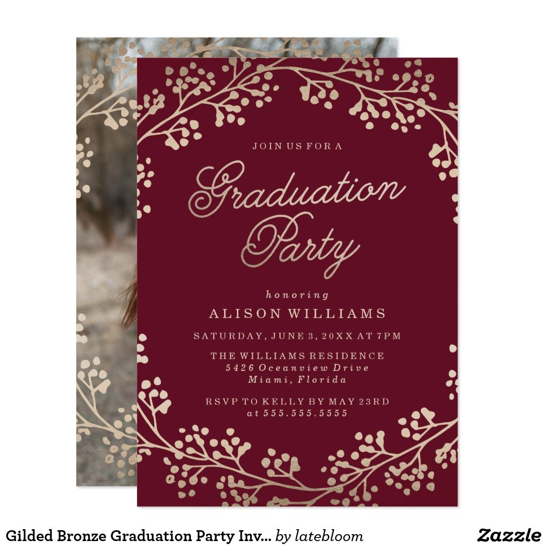 Gilded Bronze Graduation Party Invitation