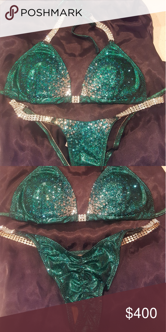 ac0657900d142 NPC Competition Bikini Dark emerald green competition suit with Swarovski  crystals (AB, sapphire, light blue, white). Brazilian cut suit bottom.