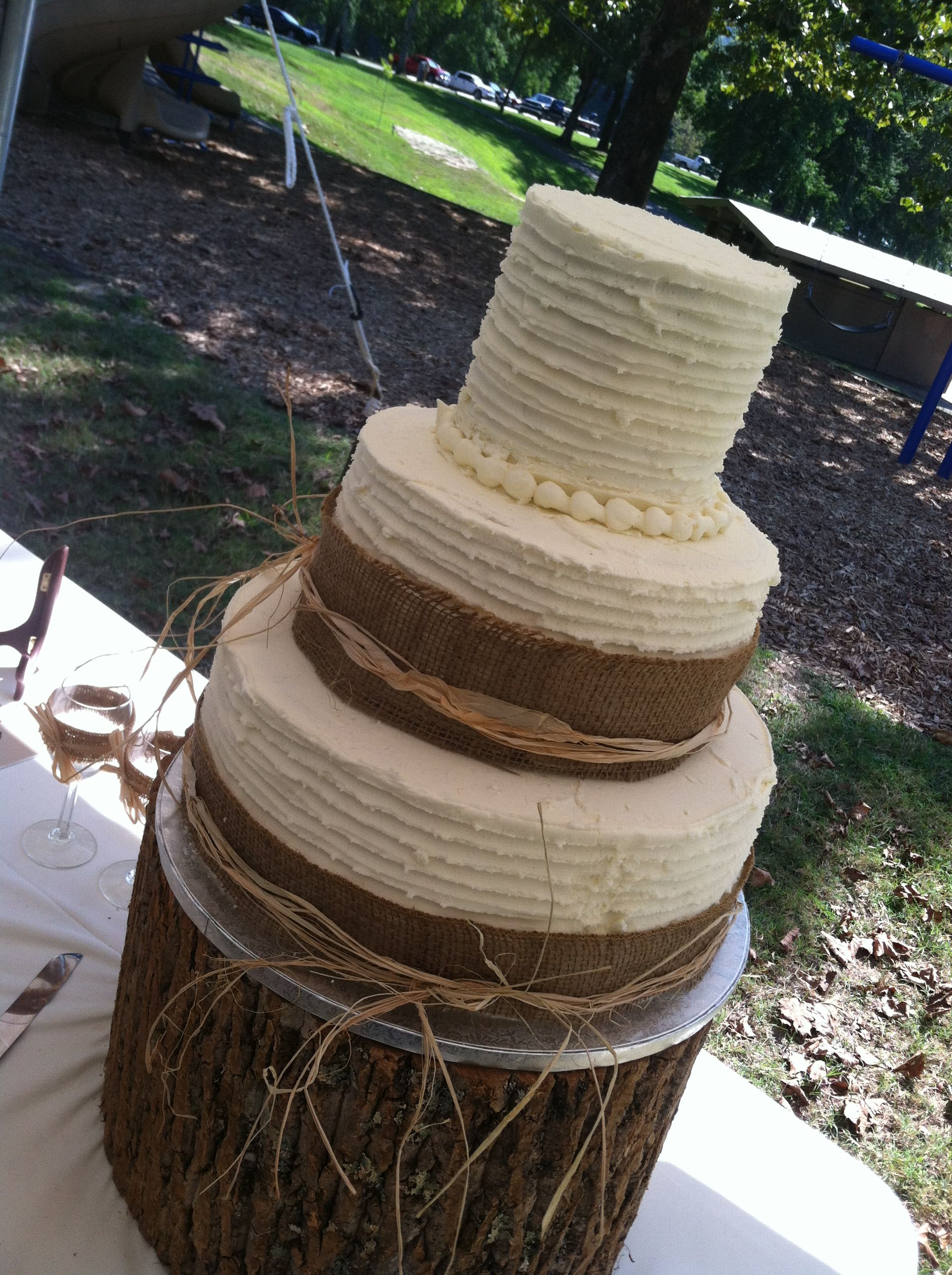 Three tier round buttercream wedding cake- country theme.  Mommy Cakes by Teresa Caudill.