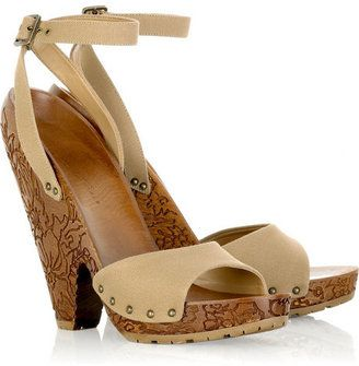 44ad719770f ShopStyle  Stella McCartney Engraved wooden platform sandals