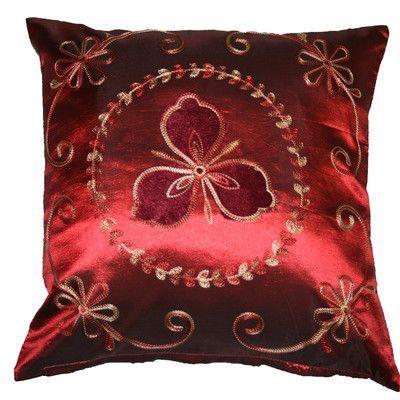 Violet Linen Silky Ornate Embroidered Velvet Floral Design Decorative Cushion Cover Color: Burgundy
