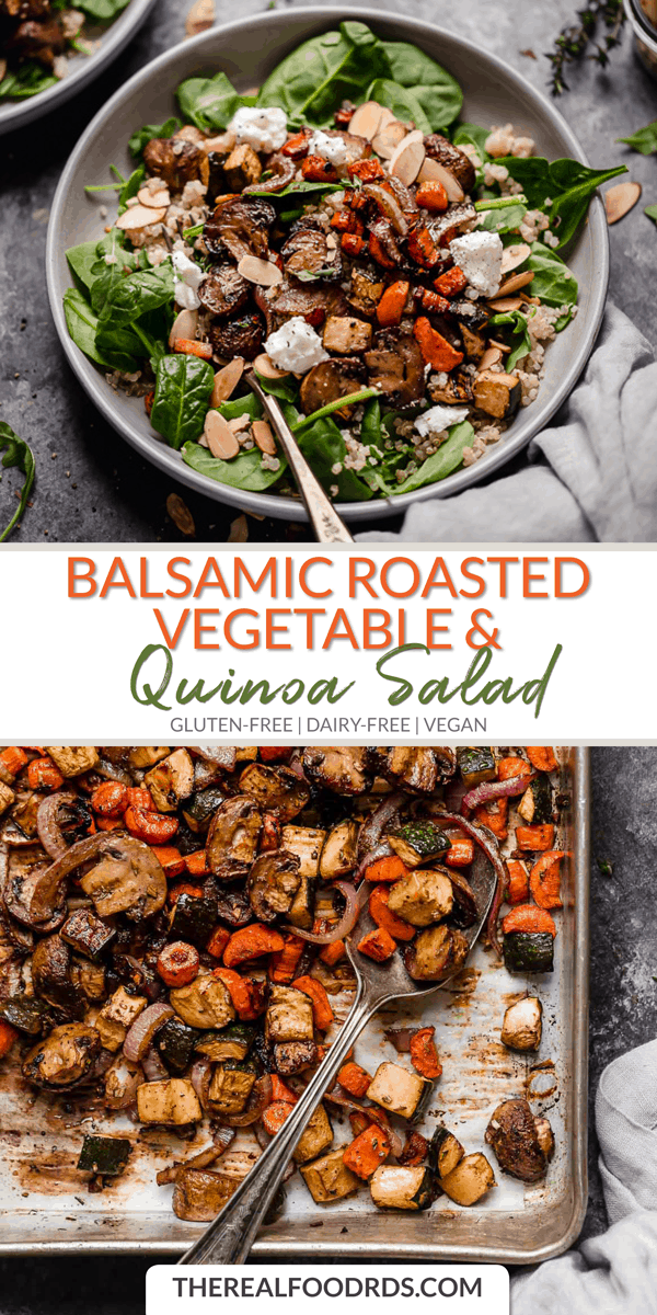 Balsamic Roasted Vegetable and Quinoa Salad | gluten-free salad | dairy-free salad | vegan salad re