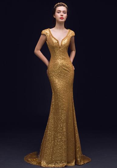 Robe De Soiree Longue Sirene Brillant Profond Backless V Cou Paillettes D Or Jolie Robe Idees Vestimentaires Robe De Soiree Longue