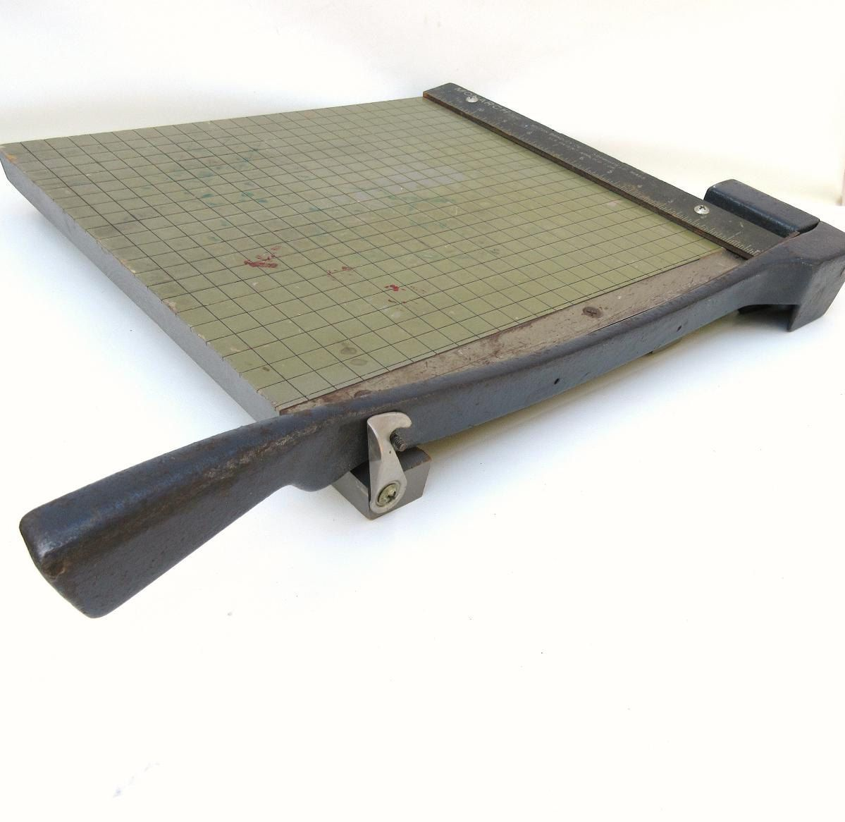 Antique Paper Cutter Guillotine Trimmer Office Wood Cutting Board