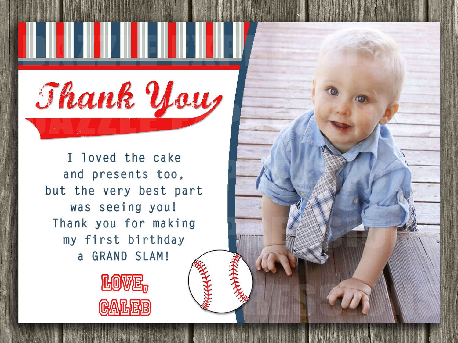 Baseball Thank You Card Printable 1000 via Etsy – First Birthday Thank You Cards