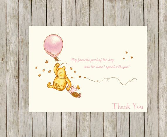 Printable Classic Winnie The Pooh Thank You Cards Pink Girl Instant Download Thank You Cards Hand Embroidery Designs Cards