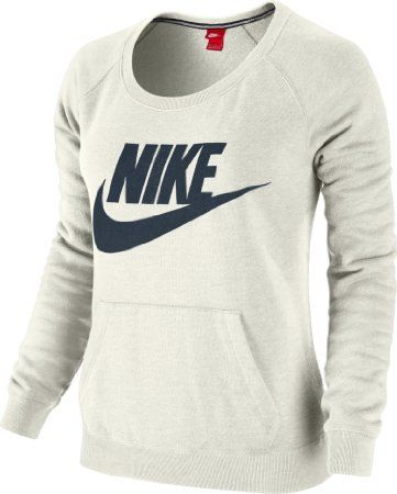 3cba60b83f9e4 Amazon.com: Nike Womens Rally Crew Small Sail Heather/Navy: Sports ...