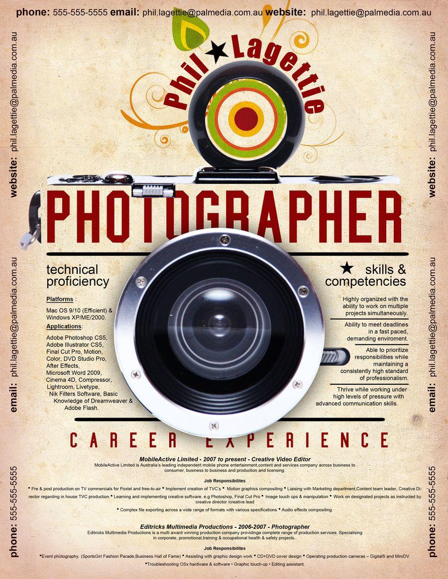 Resume For Photographer Career