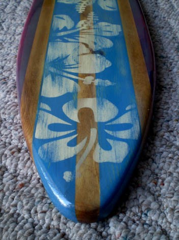 Surfboard Wall Art blue 2 foot vintage surfboard wall art solid wood | vintage