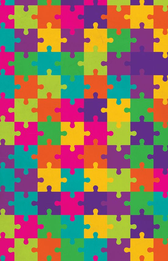 Colorful Jigsaw Puzzle Pattern Art Print Cell Phone Wallpapers Cute Vintage