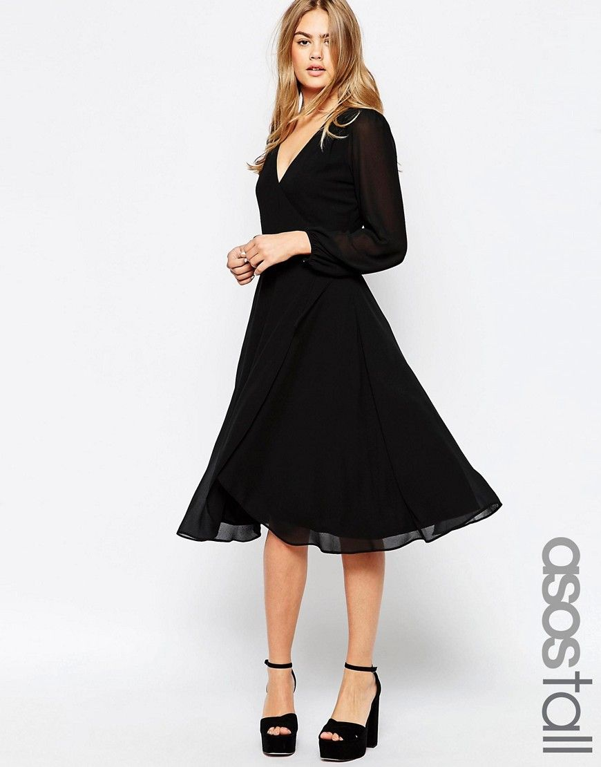 Asos Womens Tall Midi Dress With 70'S Blouson Sleeves And Wrap Front Black - Dresses