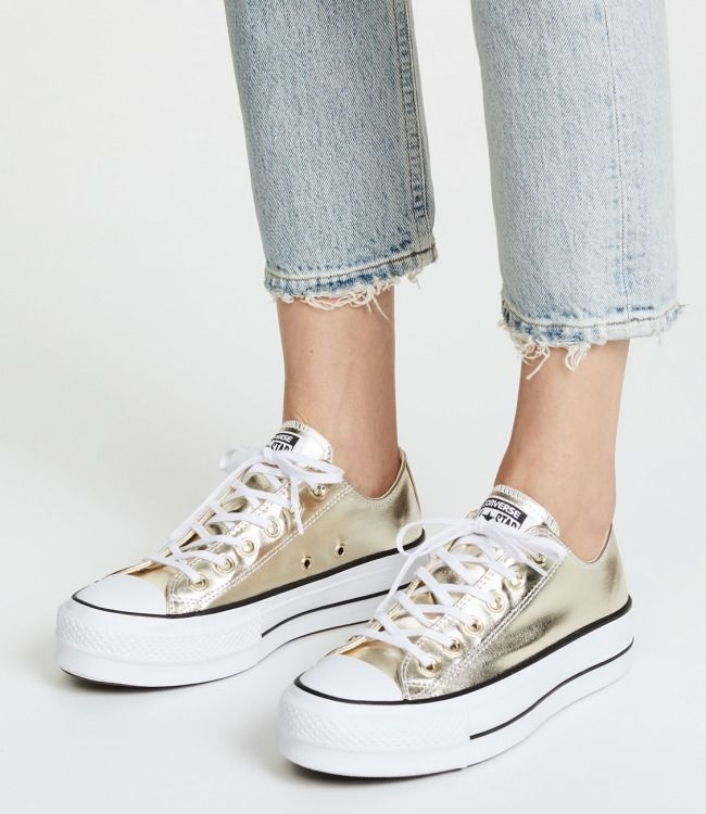 Converse Chuck Taylor All Star Lift OX Sneakers - Women  women  shoes   golden  sneakers a2263ded32894
