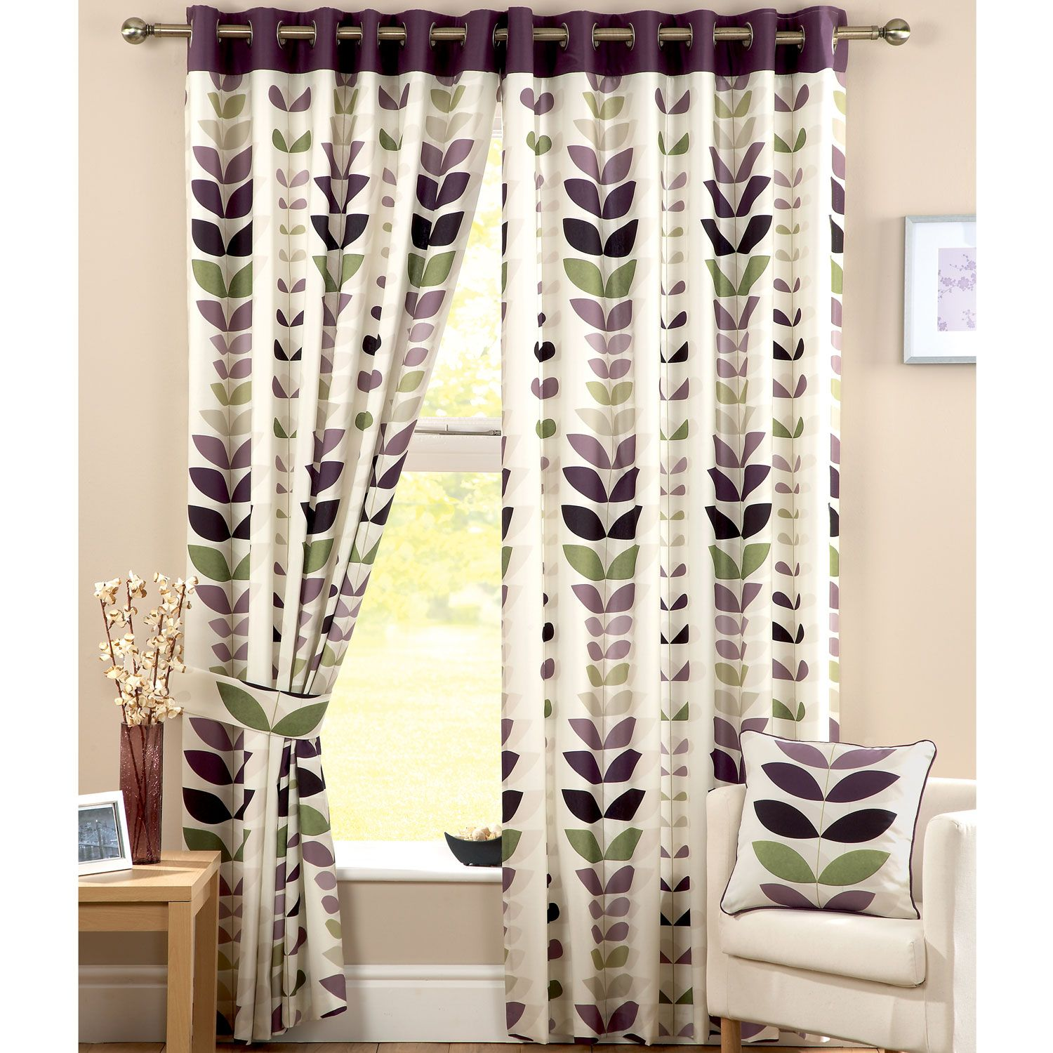 Zest Modern Retro Solid Printed Leaf Pattern Readymade Lined Pencil Pleat  Curtains, Cream / Aubergine   X