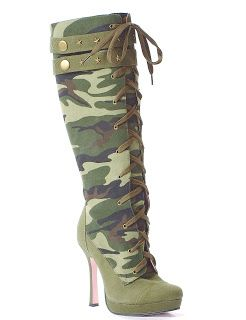 Smooth Productions NY: Fashion Collection of High Heels Camouflage High Heel Boots